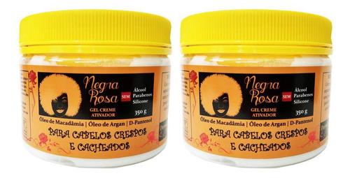 2x Gel Creme Negra Rosa 350g Crespos Cacheados Alinha Modela
