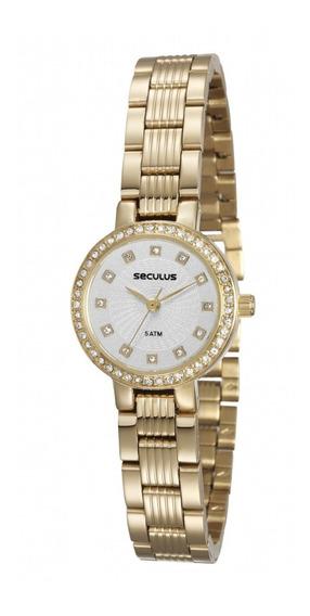 Relógio Seculus Feminino Dourado 23571lpsvds1 Original