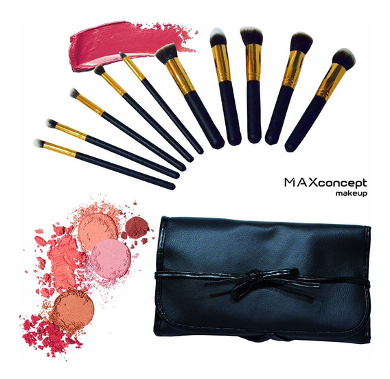 Set X10 Brochas Kabuki Pinceles Maquillaje Incluye Estuche!!
