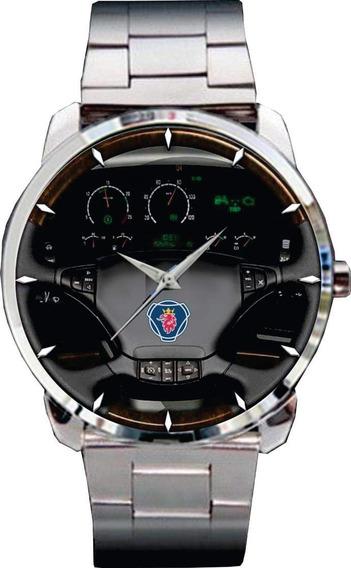 Relógio Pulso Personalizado Painel Scania C/ Volante Madeira