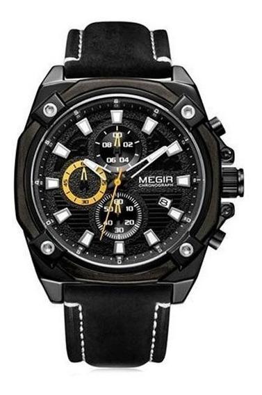Relógio Megir Racing 2054 Com Pulseira Em Couro