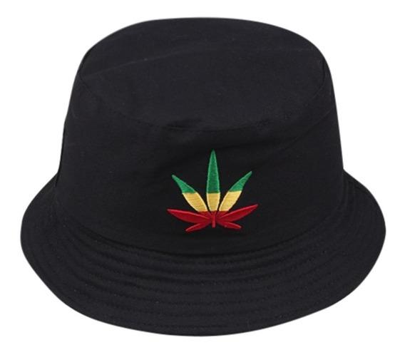 Chapeu Bucket Hat Preto Erva Top Weed Planta Reggae Roots