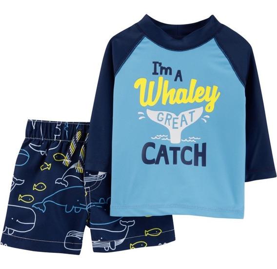 Conjunto Camiseta Shorts Proteção Solar Upf 50+ Infantil Carters Menino Roupa Bebe Verao