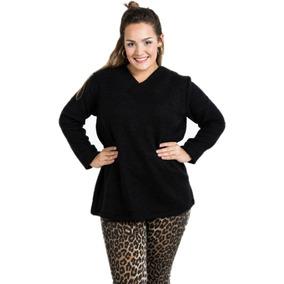 Sweater Escote V Mujer Talles Grandes Lana