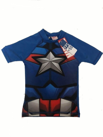Remera Avengers Agua Filtro Uv50 Capitan America Disfraz