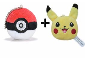 Pokemon Pikachu Chaveiro Pelúcia + Pokebola Chaveiro Pelúcia