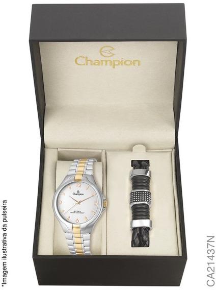 Relógio Champion Masculino Kit Pulseira Ca21437n