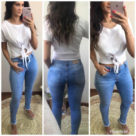 Calça Jeans Feminina Cintura Média Super Na Moda