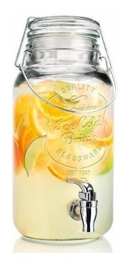 Frasco Dispenser Grifo Con Canilla 3,6l Cierre Hermetico De Vidrio Bebidas Jugos Fiestas Moderno