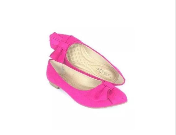 Sapatilha Bico Fino Com Laço Pink 4136.145