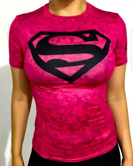 Playera Supergirl Rosa Marvel Dc Comics Crossfit