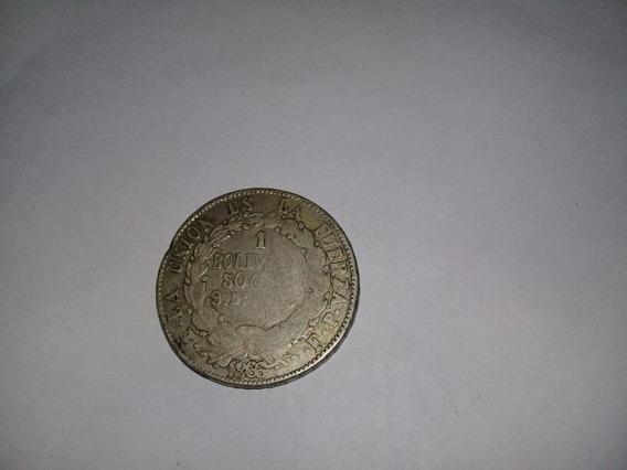Moneda 1 Boliviano Bolivia 1866 De Plata Alto Valor Catalogo