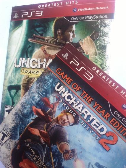 Jogos Uncharted 1 E 2 Completos Midia Fisica R$79,9