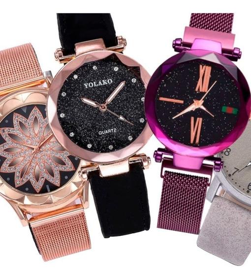 Super Oferta 3 Relógios Fivela De Ima,couro E Aço Inoxidável