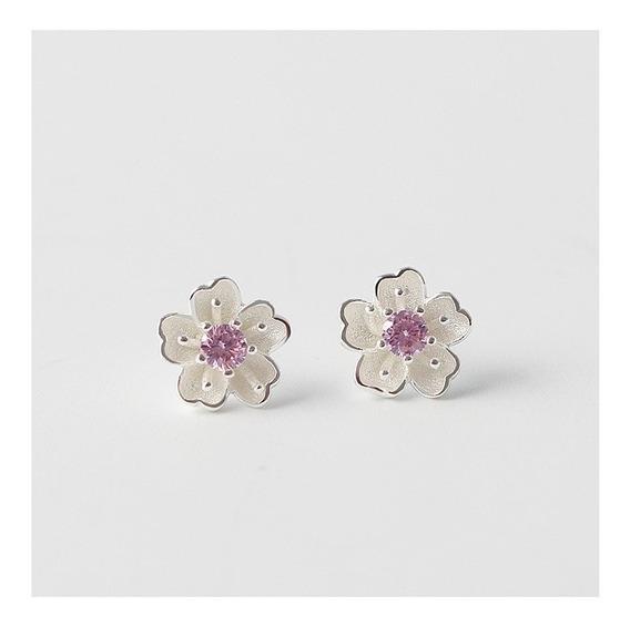 Aretes Plata De Ley 925 Real Moda Sakura Flor Cerezo