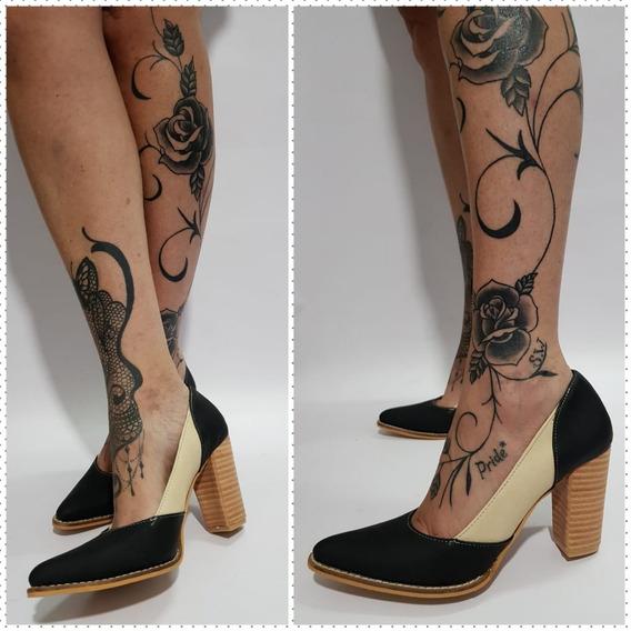 Stiletto Combinado Rojo Y Negro Taco 8cm Stampa Woman
