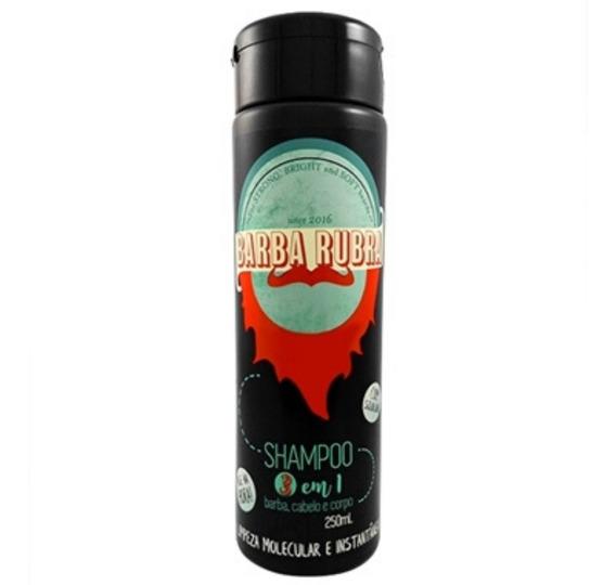 Shampoo 3 Em 1 Barba Rubra, Barba, Cabelo E Bigode 250ml