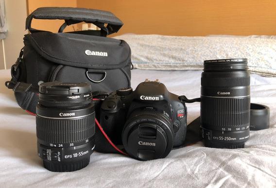 Câmera Canon T3i / 3 Lentes 50mm 18-55mm E 55-250mm + Bolsa