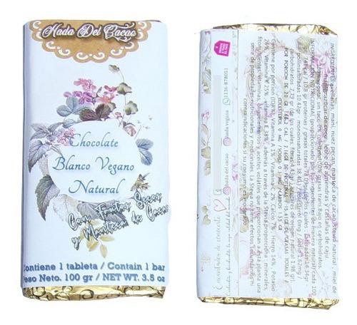 Tableta De Chocolate Blanco Natural Low Carb Vegano Premium