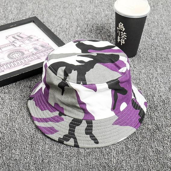 Bone Chapéu Bucket Hat Camuflado Colorido Laranja Diversas