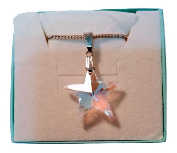 Colar Estrela Cristal Swarovski Blue Boreal 2,0 Cm