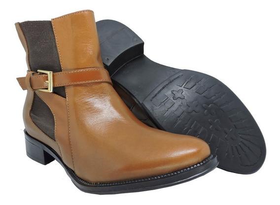 Bota Cano Curto Feminina Couro Legítimo - Encinas Leather...