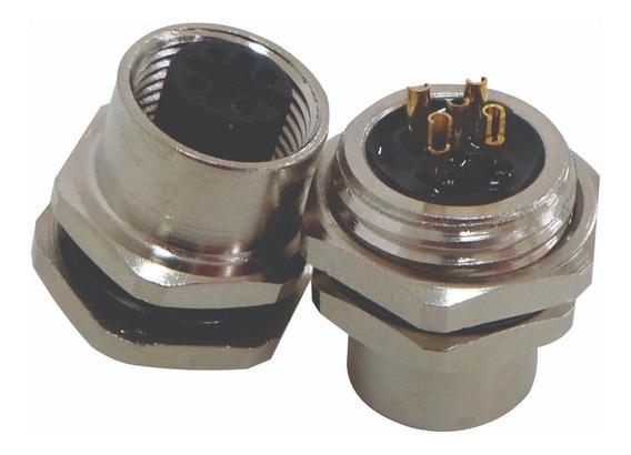 Conector Painel M12 5 Pinos Femea Para Sensor(soquete)