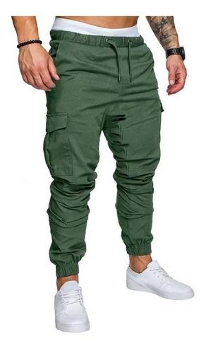 Pantalones Hombre Cargo Gabardina Bolsillos Casuales Jogger Mercado Libre