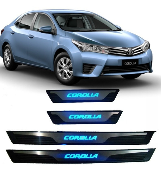 Friso Portas Soleiras Led Azul Aço Inox Toyota Corolla Novo