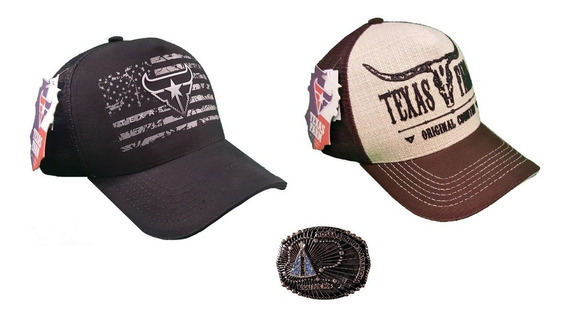 Fivela Cowboy Nossa Senhora Aparecida + 2 Bonés Texas Farm