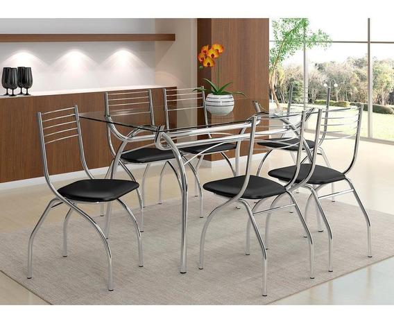 Mesa De Jantar Em Tubos De Aço, Tampo Em Vidro, 6 Cadeiras - Carraro Bolonha