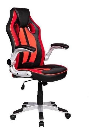 Cadeira de escritório Pelegrin 3009 preta e vermelha con estofado do couro sintético