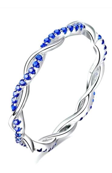 Anillo Banda Espiral De Moda Cristal Azul Plata Sterlina 925