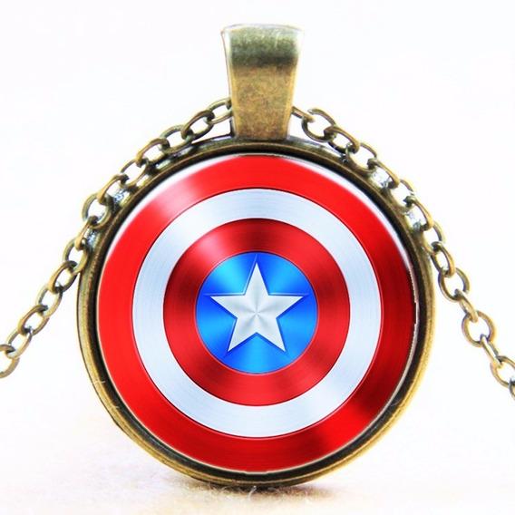 Colar Unissex Cabochão Marvel Capitão América Masculino