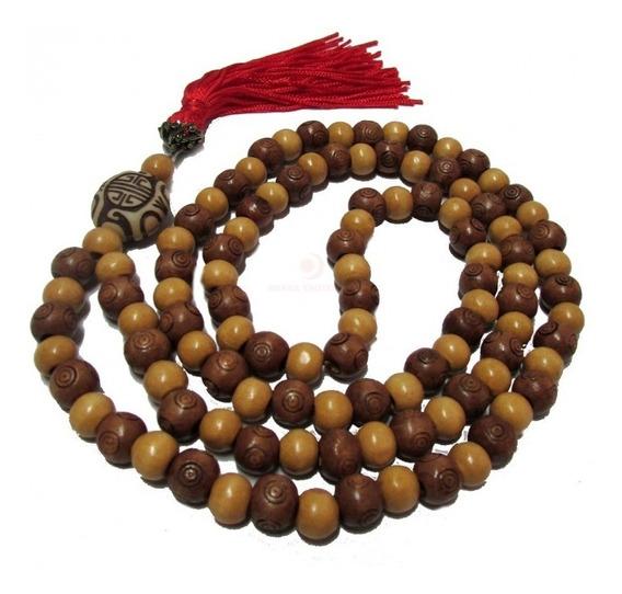 Japamala 108 Contas Madeira Mista Para Oração Ho