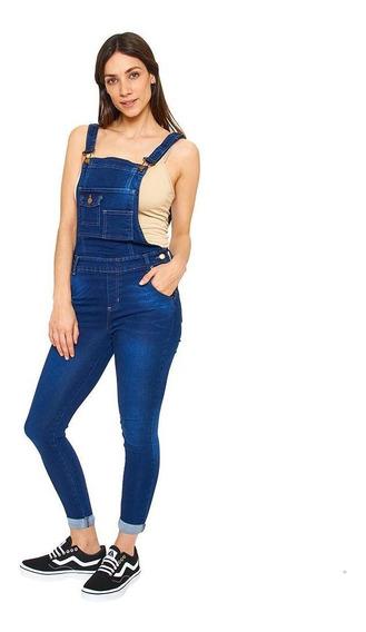 Overol Jeans Dama Skynny Mezclilla Marino Casual