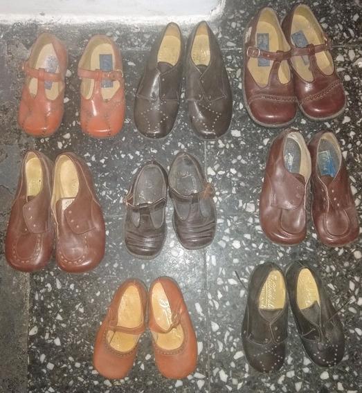 Lote De Zapatos Nenes Cuero Antiguos Nuevos Vintage