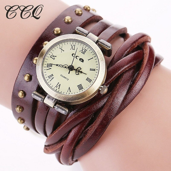 Relógio Retrô Vintage Ccq Pulseira Dupla Couro Frete 10,00