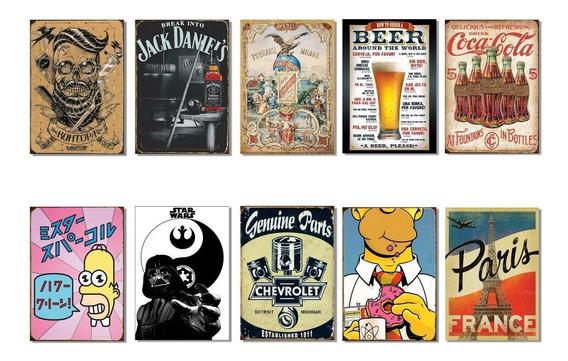 Carteles Chapa Retro Vintage Promo X 10 Carteles A Elección