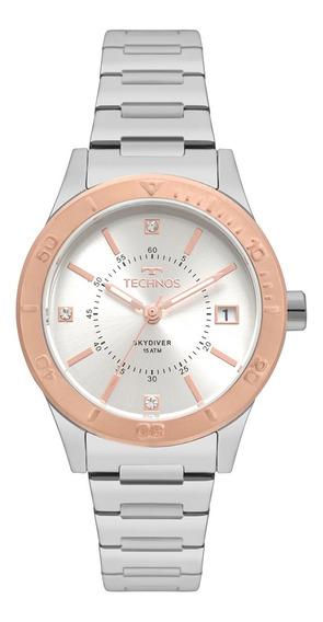 Relógio Technos Feminino Skydiver Prata/rosê 2115moy/5k