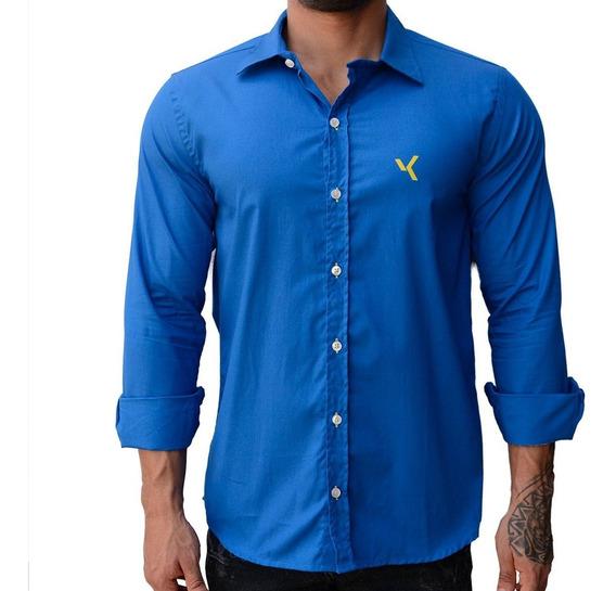 Camisa Manga Longa Azul Royal