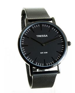 Reloj Tressa Negro Unisex De Malla Tejida Clyde-bk