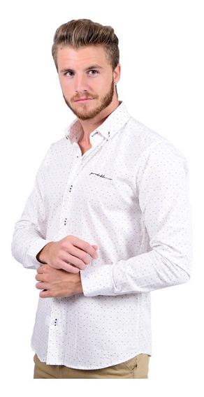 Camisa Casual Porto Blanco Caballero Puntos Beige C-575