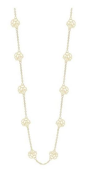Colar Folheado Ouro 18k Fio Flores Vazadas Bonito 531247