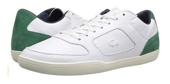 Tenis Lacoste A La Moda Blancos Con Verde