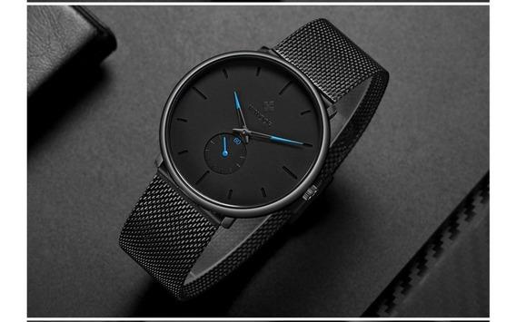 Relógio Wwoor Ultra Fino Casual A Prova D