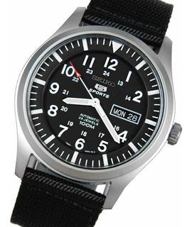 Reloj Seiko 5 Automatico Nylon Negro Sumergible Snzg15k1