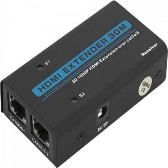 Extensor De Hdmi 1080p 3d Com Lan Rj45 30m Cb0332 Preto