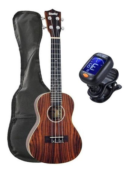 Ukulele Shelby Concerto Su23r Rosewood + Afinador Aroma+capa