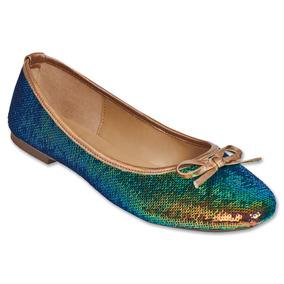 Calzado Dama Mujer Zapato Flat Tropicana Lentejuela En Verde